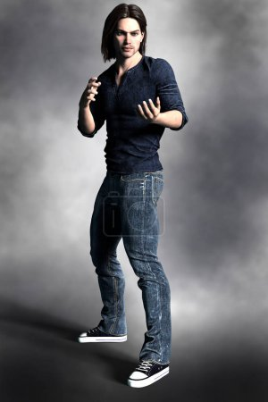 Photo for Ideal male book cover CGI figure for urban fantasy and science fiction genres, in a ready to defend or fight pose. - Royalty Free Image