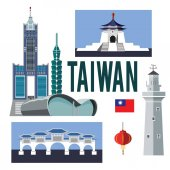 A collection of colorful illustrations on the colorless backgroundSet of cultural symbols sightseeing Architecture of Taiwan