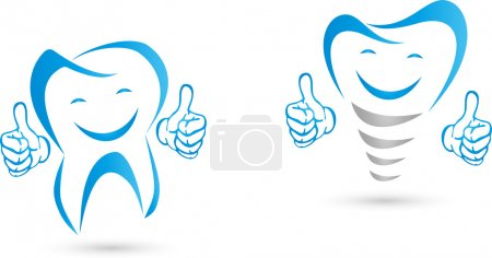 Illustration for Tooth with hands, implant with hands, laughing - Royalty Free Image