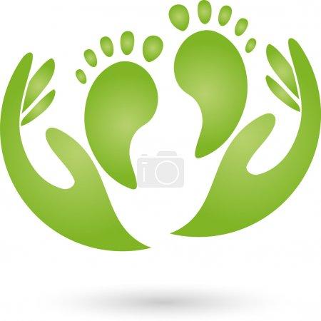 Illustration pour Pieds et mains, logo, pédicure - image libre de droit