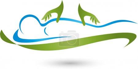 Illustration for Human, massage, practitioner, hands, back, orthopedics - Royalty Free Image