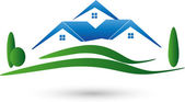 Three houses and meadow real estate brokers real estate Logo