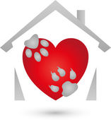 House and paws dog and cat heart for animals