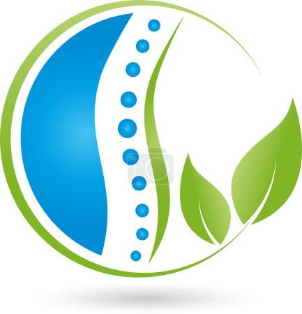 Spine and leaves, naturopath, orthopedic, logo