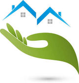 Two houses and hand real estate and real estate agent logo