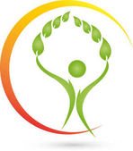 Person and leaves plant wellness and naturopathic logo