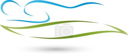 Person and plant, leaf, massage and wellness logo