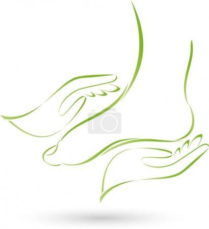 Illustration pour Logo deux pieds et deux mains, massage et soins des pieds - image libre de droit