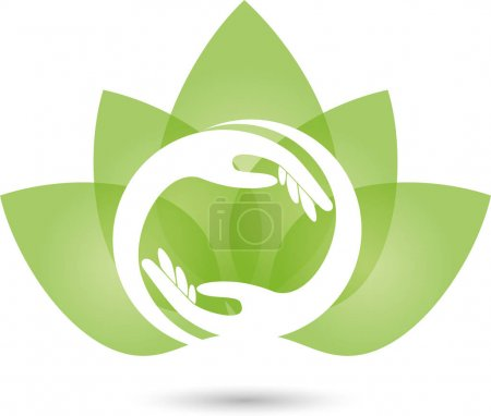 Illustration for Two hands and leaves, naturopath and wellness logo - Royalty Free Image