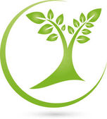 Tree plant and circle gardener and nature logo