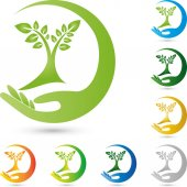 Tree plant and hand gardener and nature logo