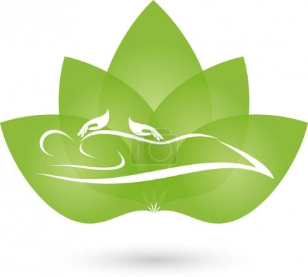 Illustration for Person, Two hands and leaves, massage and naturopathic logo - Royalty Free Image