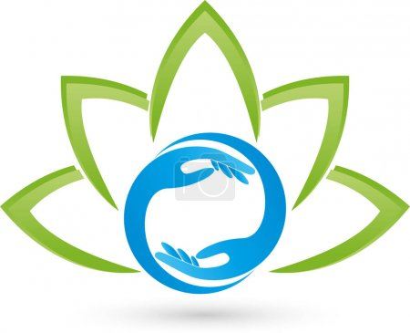 Illustration for Many leaves, plant and hands, wellness and massage logo - Royalty Free Image