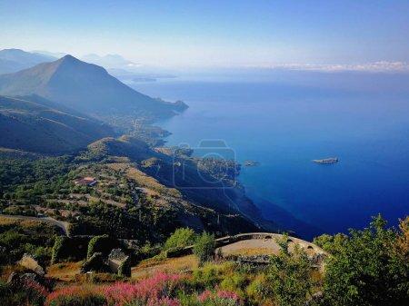 Maratea, Potenza, Basilicata, Italy - June 4, 2017: Panorama of the coast of Maratea seen from above Monte San Biagio