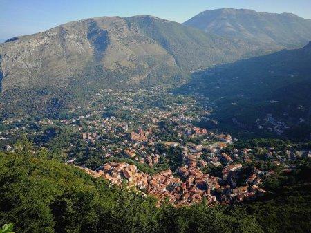 Maratea, Potenza, Basilicata, Italy - June 4, 2017: Panorama of the city of Maratea seen from the top of Monte San Biagio