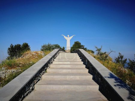 Maratea, Potenza, Basilicata, Italy - June 4, 2017: footpath on the ridge of Monte San Biagio leading to the great statue of Christ the Redeemer