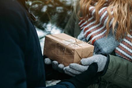 Photo pour Plan recadré de jeune femme en vêtements d'hiver donnant à quelqu'un une boîte-cadeau enveloppée - image libre de droit
