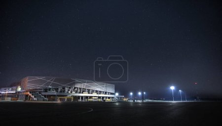 Stadium Arena Lviv Ukraine in the night, sky full of stars