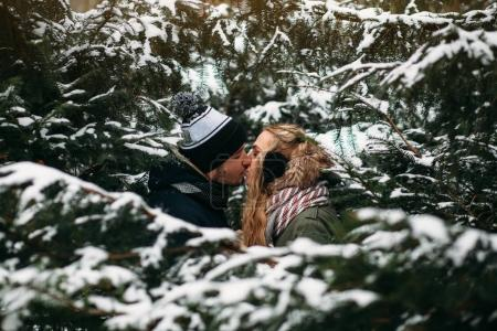 couple kissing in winter park