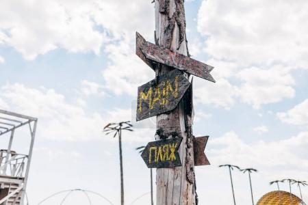 A wooden pole with direction signs at the beach