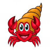 Funny cartoon hermit crab in the shell Vector illustration Isolated on white background