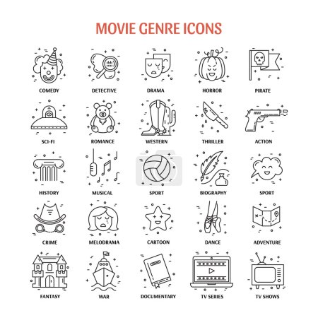 Illustration for Vector set of movie genres line icons isolated on white background. Different film genre elements perfect for infographic or mobile app - Royalty Free Image