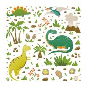 Vector set of funny dinosaurs palms volcano fossils eggs flowers  in cartoon style Prehistoric age life Perfect for cards invitations party banners kindergarten baby shower coloring book and children room decoration