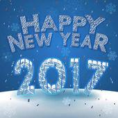 Šťastný nový rok 2017 pozdrav na sněhu pozadí