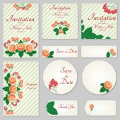 A set of invitations with ornament in the Slavic folk style 02 For used for web wallpaper printing on the paper