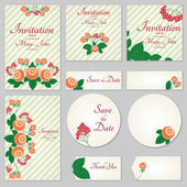 A set of invitations with ornament in the Slavic folk style 02