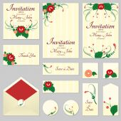 A set of invitations with ornament in the Slavic folk style 05 For used for web wallpaper printing on the paper