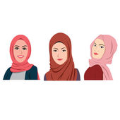 Muslim Girls Avatars Set Traditional Hijab Collection