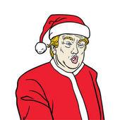Donald Trump President Elect  Wearing Santa Claus Costume Cartoon Caricature Vector