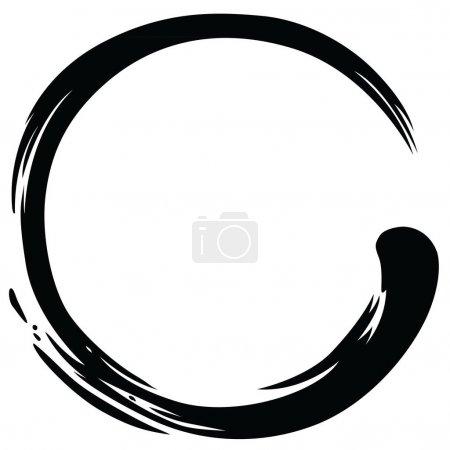 Illustration for Zen Circle Paint Brush Stroke Vector Illustration - Royalty Free Image