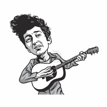 Illustration for Bob Dylan Playing Guitar Cartoon Caricature Illustration - Royalty Free Image