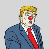 Donald Trump Wearing Red Nose Vector Cartoon Caricature Portrait