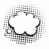 Vintage Pop Art Comics Speech Bubbles Vector Black and White Thinking Illustration Icon
