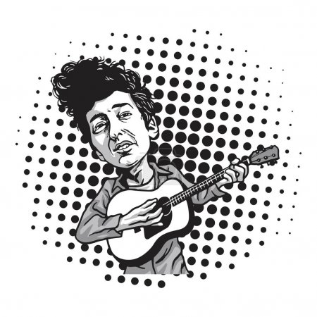 bubbleBob Dylan Cartoon Playing Guitar