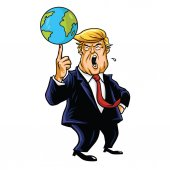Donald Trump Cartoon Playing Globe Vector Caricature Illustration Portrait