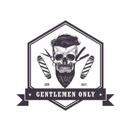 Skull Barber Shop Hexagonal Logo Retro Vintage Design Template Vector