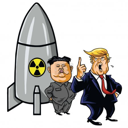 Kim Jong-un Versus Donald Trump. Cartoon Vector Illustration