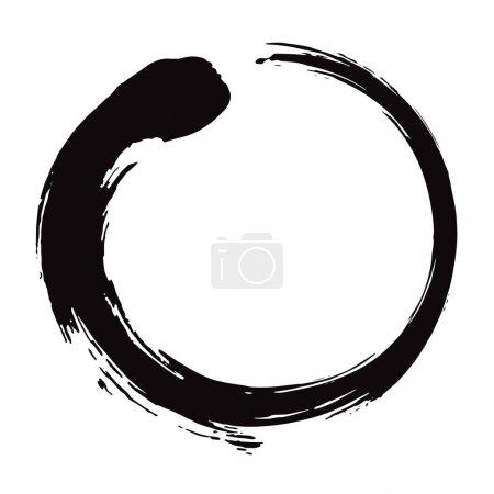 Zen Circle Brush Black Ink Vector Illustration