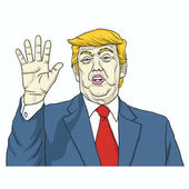 Donald Trump Says Talk to My Hand Cartoon Vector Illustration August 8 2017