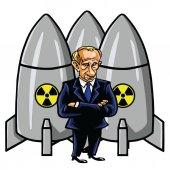 Vladimir Putin Cartoon with Nuclear Missiles Vector Illustration August 12 2017