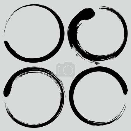 Illustration for Enso Zen Circle Brush Set.  Authentic Vector Painting Illustration - Royalty Free Image
