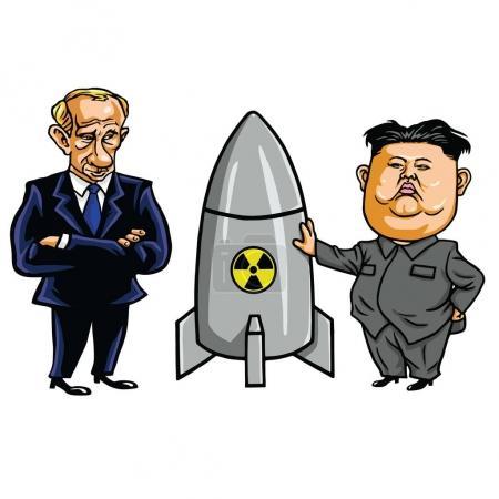 Kim Jong-un and Nuclear Weapon with Vladimir Putin. Vector Cartoon Illustration. September 21, 2017