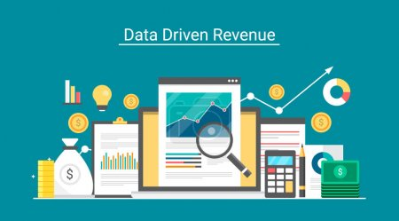 Flat vector for Data driven revenue, growth analysis, return on investment measurement