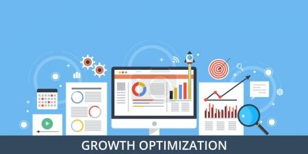 Growth optimization, conversion management, data driven growth marketing concept. Flat design vector illustration.