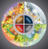 circles shapes landscape design set with Winter, Spring, Summer,
