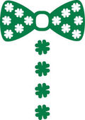 St Patrick's Day bowtie with clover buttons